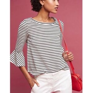 anthropologie striped bell sleeve tee